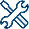 Symbol von überkreuzten Werkzeugen